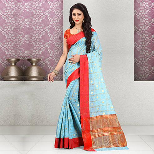 Adorable Blue Colored Festive Wear Woven Cotton Linen Saree