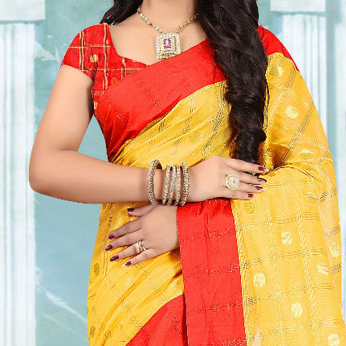 Irresistible Yellow Colored Festive Wear Woven Cotton Linen Saree