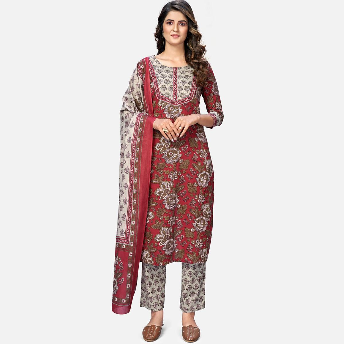 Vbuyz Women's Printed & Embroidered Straight Cotton Red Kurta With Pant & Dupatta