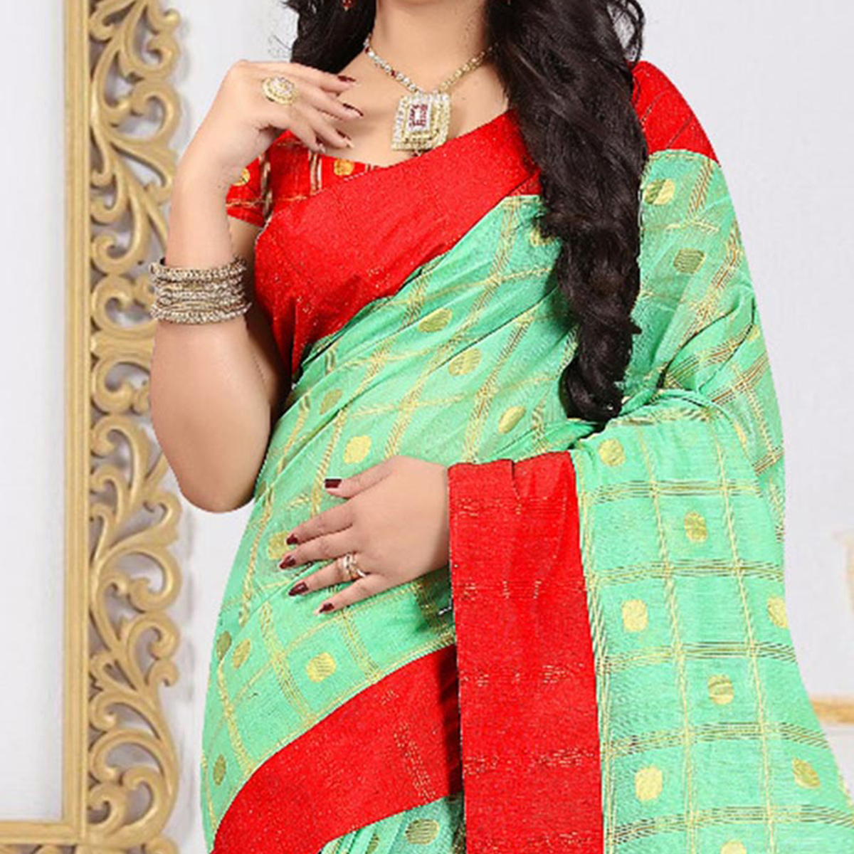 graceful green colored festive wear woven cotton linen saree