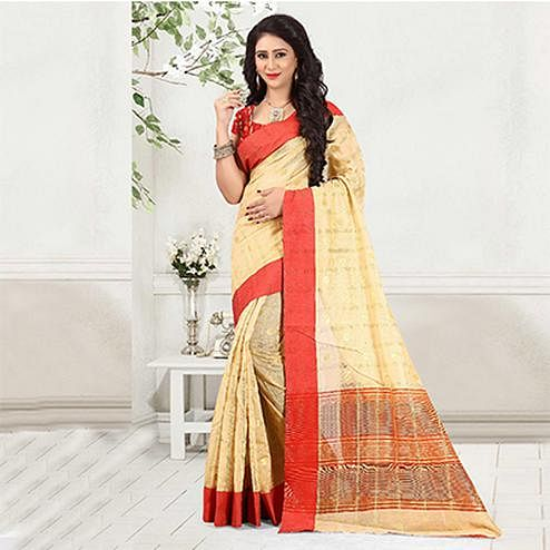Elegant Cream Colored Festive Wear Woven Cotton Linen Saree