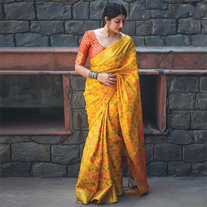 Irresistible Yellow Colored Festive Wear Designer Woven Patola Silk Saree