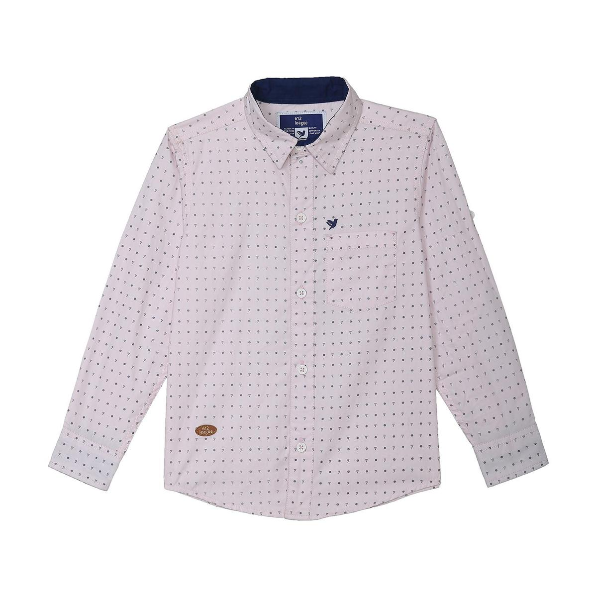 612 League - Boy's Light Pink Colored Woven Printed Shirt