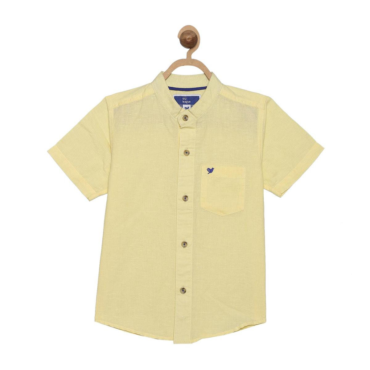 612 League - Boy's Yellow Colored Woven Solid Shirt