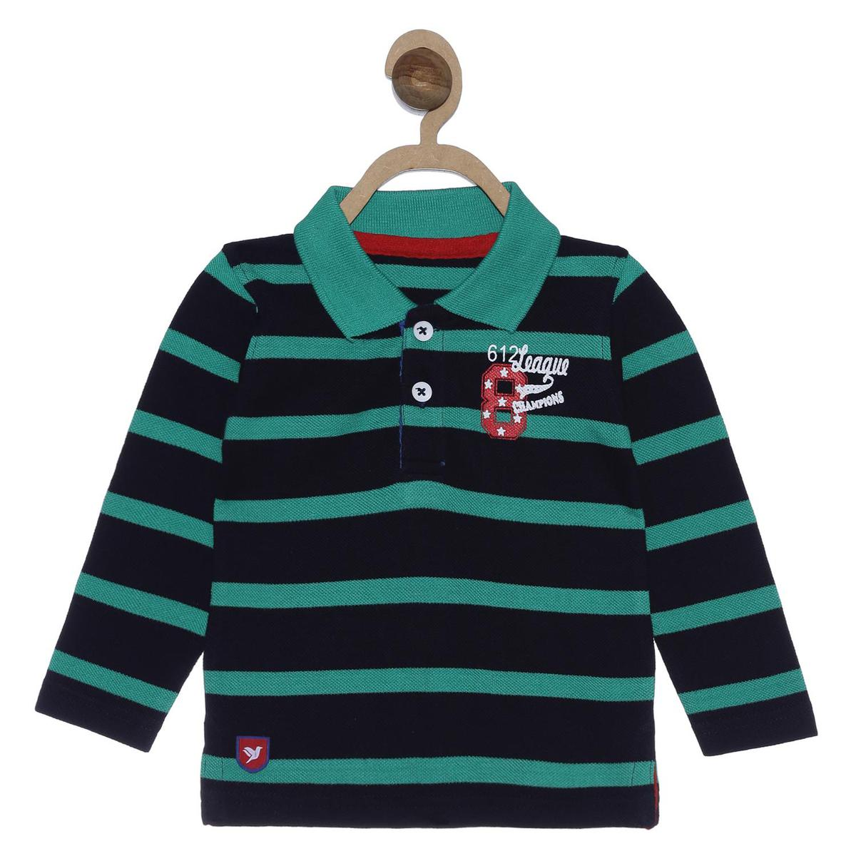 612 League - Boy's Green Colored Knit Printed Polo T-shirt