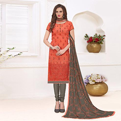 Graceful Orange-Brown Colored Mirror Worked Chanderi Silk Dress Material