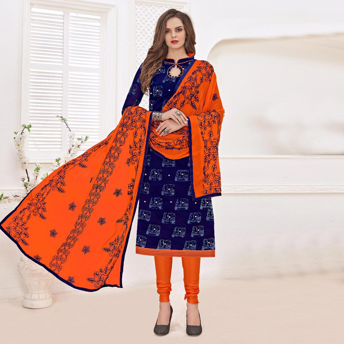 Sizzling Navy Blue-Orange Colored Mirror Worked Chanderi Silk Dress Material
