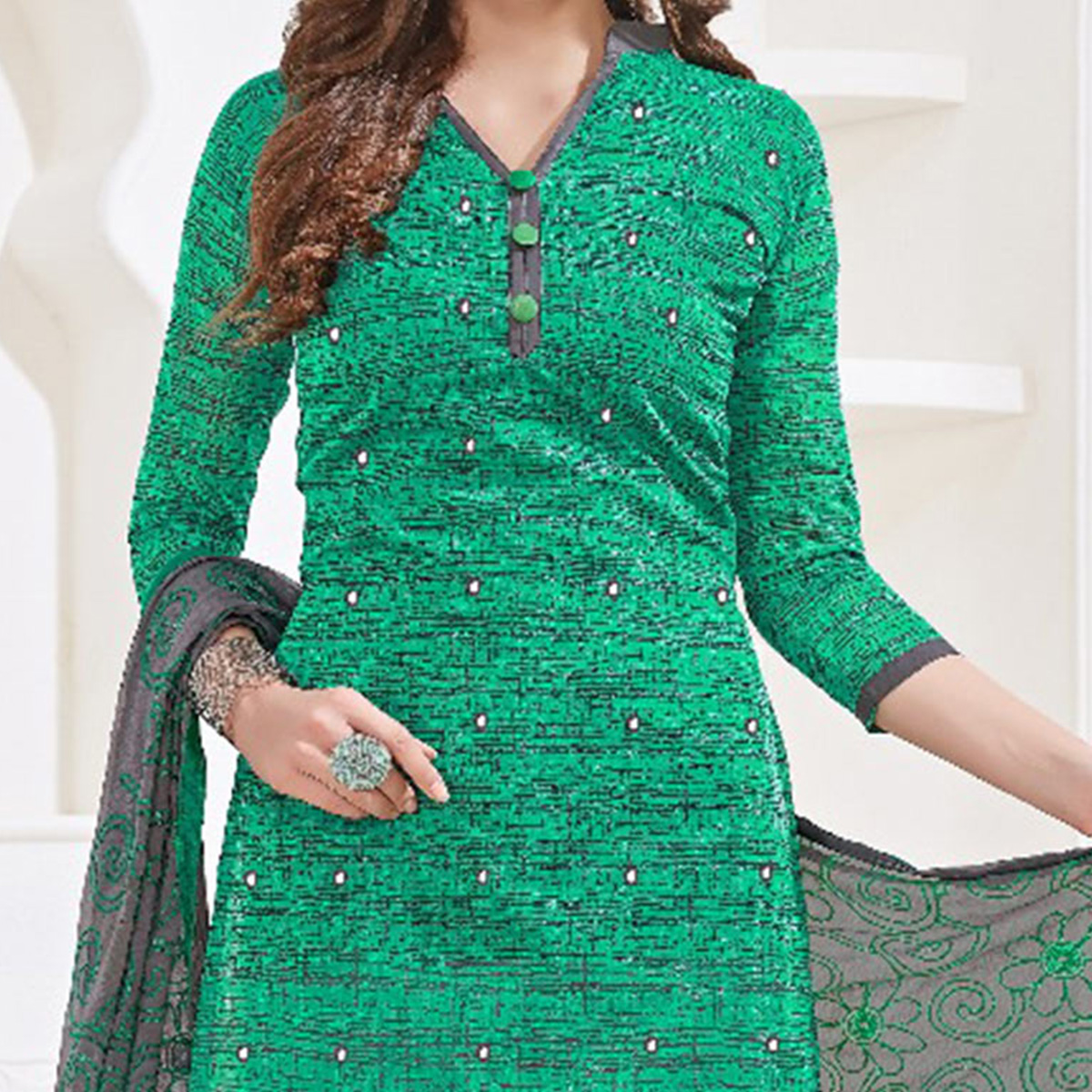Delightful Green-Gray Colored Mirror Worked Chanderi Silk Dress Material