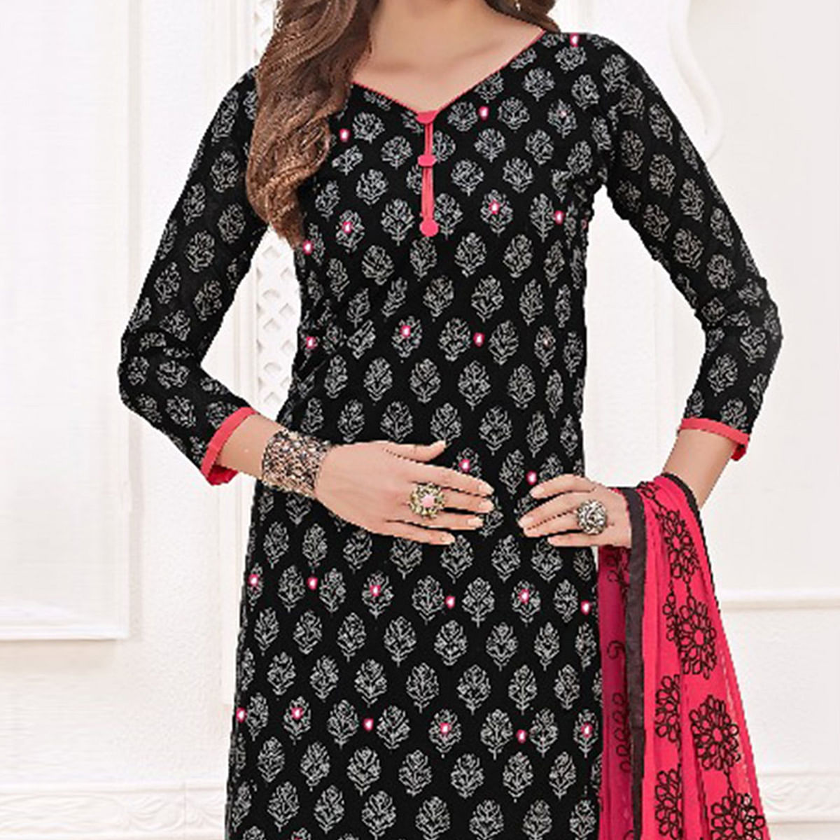 Elegant Black-Pink Colored Mirror Worked Chanderi Silk Dress Material
