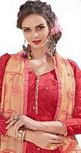 Attractive Red-Beige Colored Mirror Worked Chanderi Silk Dress Material