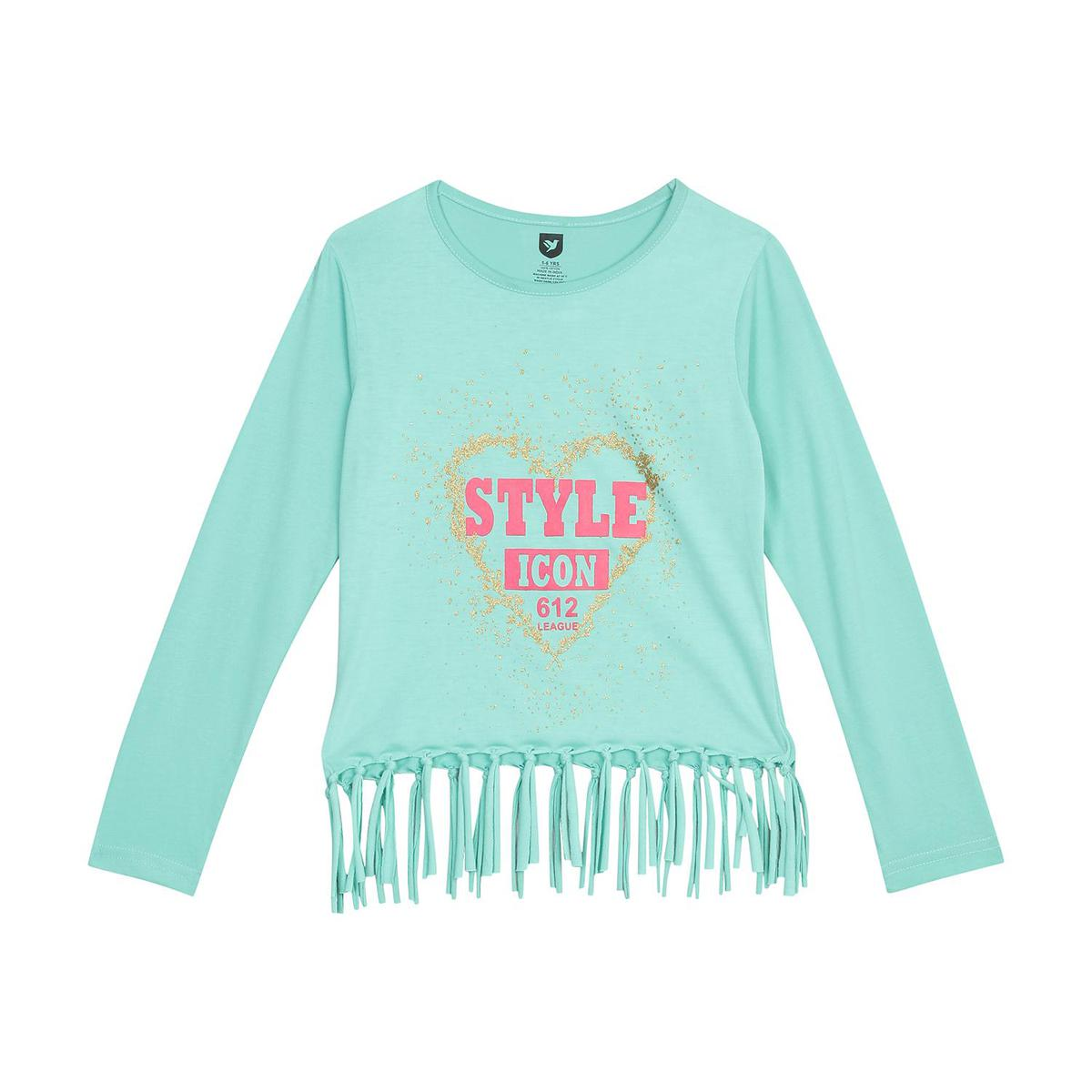 612 League - Girl's Sea Green Colored Woven Knit Graphic Top