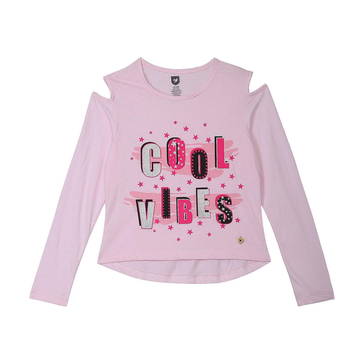 612 League - Girl's Light Pink Colored Knits Knit Graphic Top