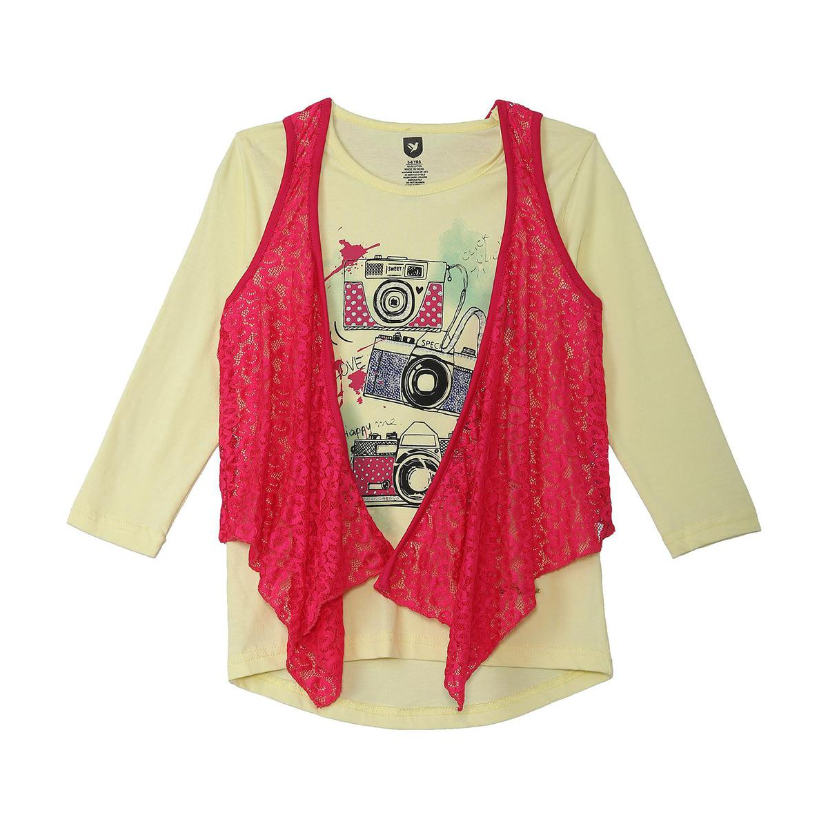 612 League - Girl's Light Yellow Colored Knits  Graphic Top