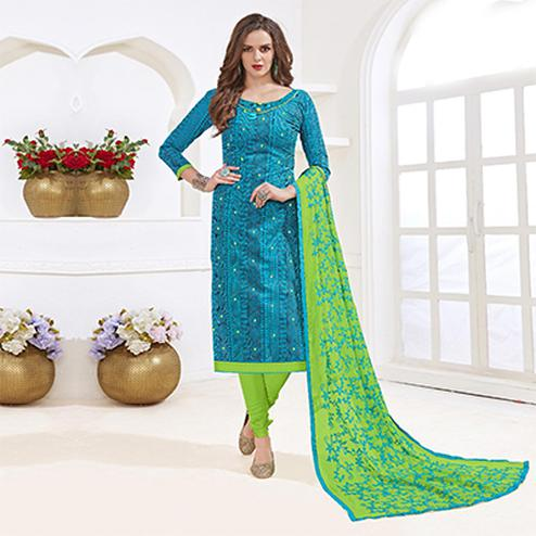 Beautiful Blue-Green Colored Mirror Worked Chanderi Silk Dress Material
