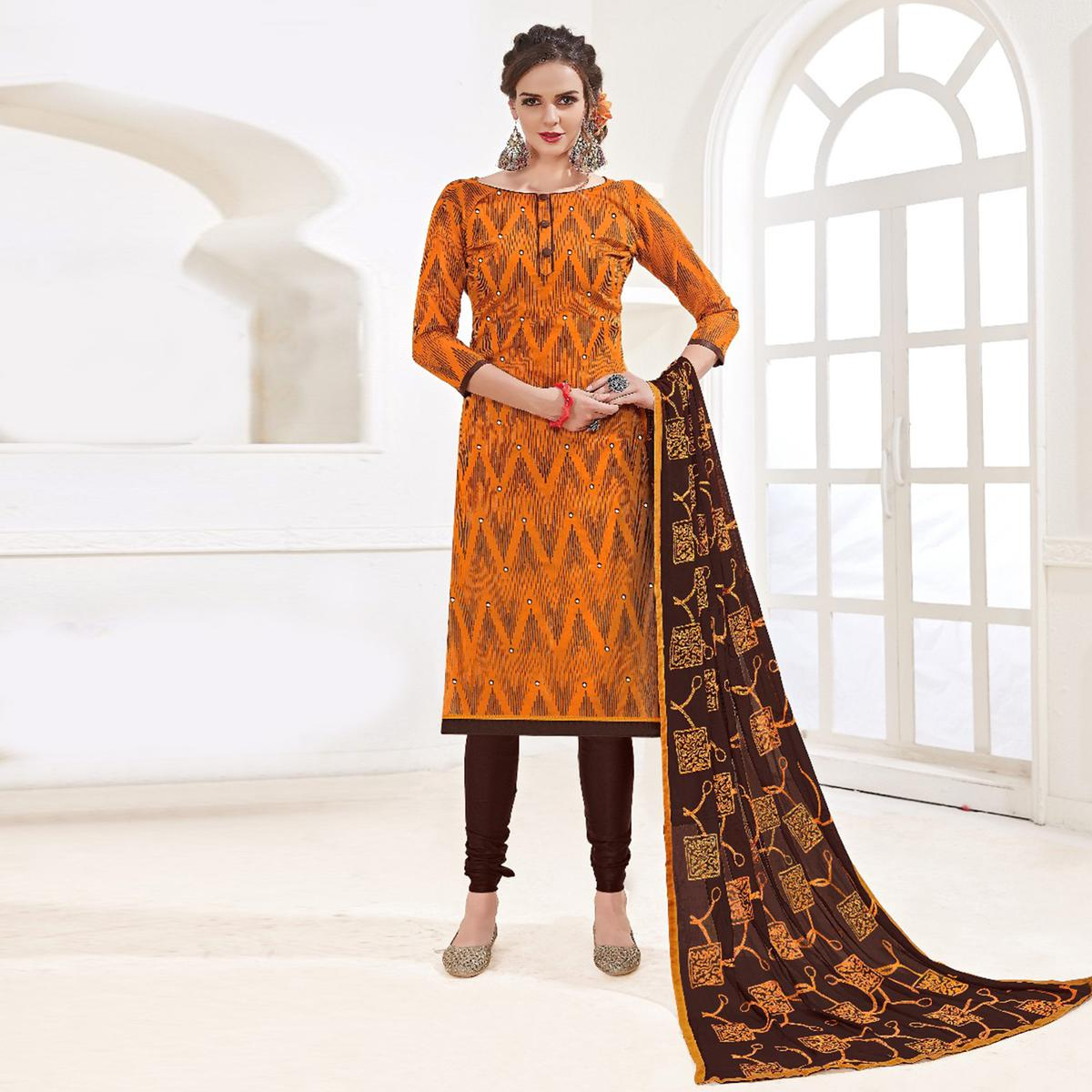 Classy Orange-Brown Colored Mirror Worked Chanderi Silk Dress Material