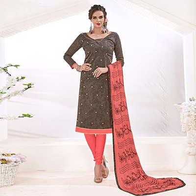Soulful Brown-Peach Colored Mirror Worked Chanderi Silk Dress Material