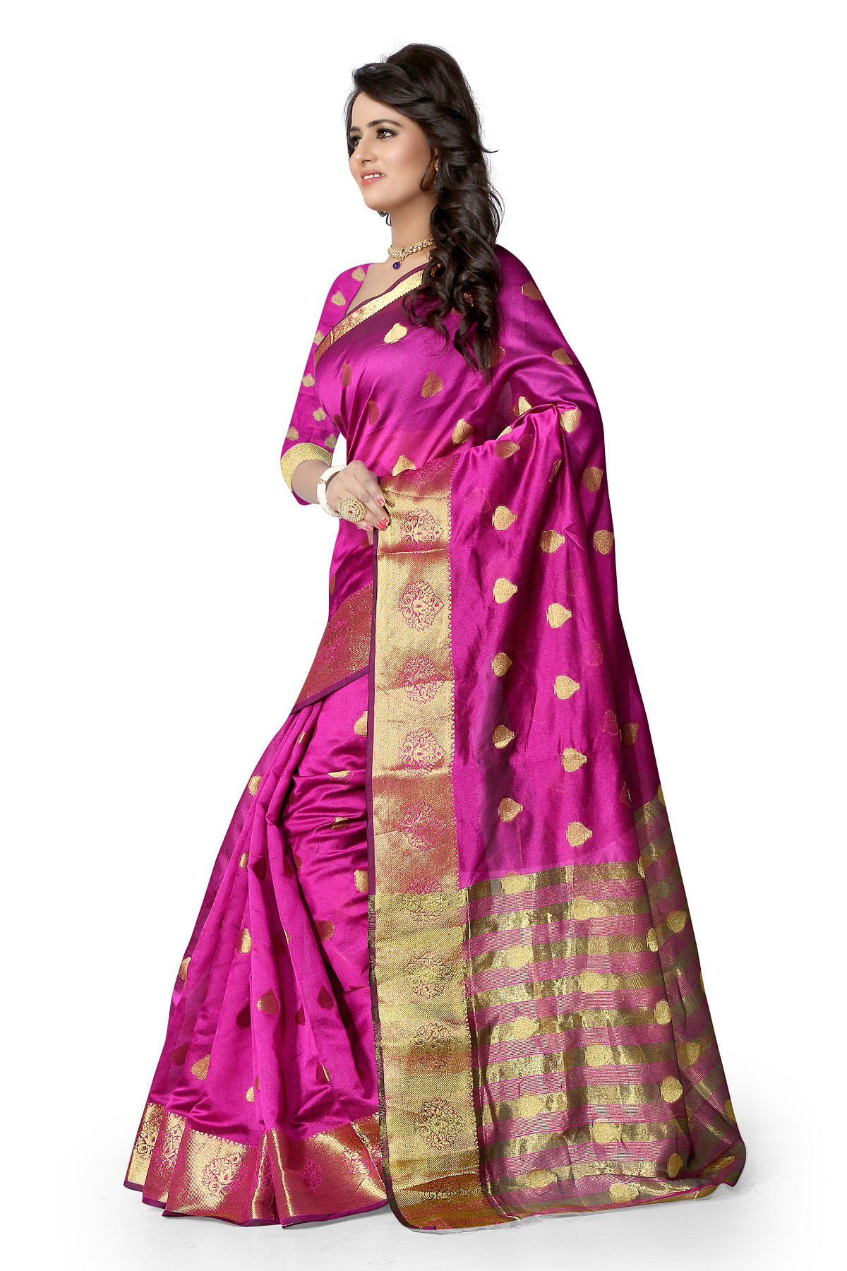 Pink Art Silk Weaved Saree