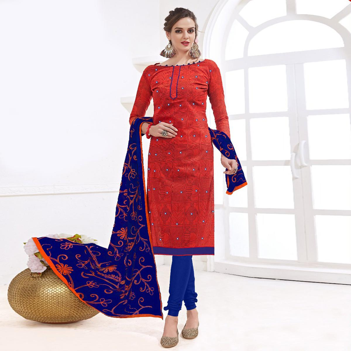 f4a2552da8 Buy Gorgeous Red-Blue Colored Mirror Worked Chanderi Silk Dress Material  for womens online India, Best Prices, Reviews - Peachmode