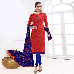 Gorgeous Red-Blue Colored Mirror Worked Chanderi Silk Dress Material