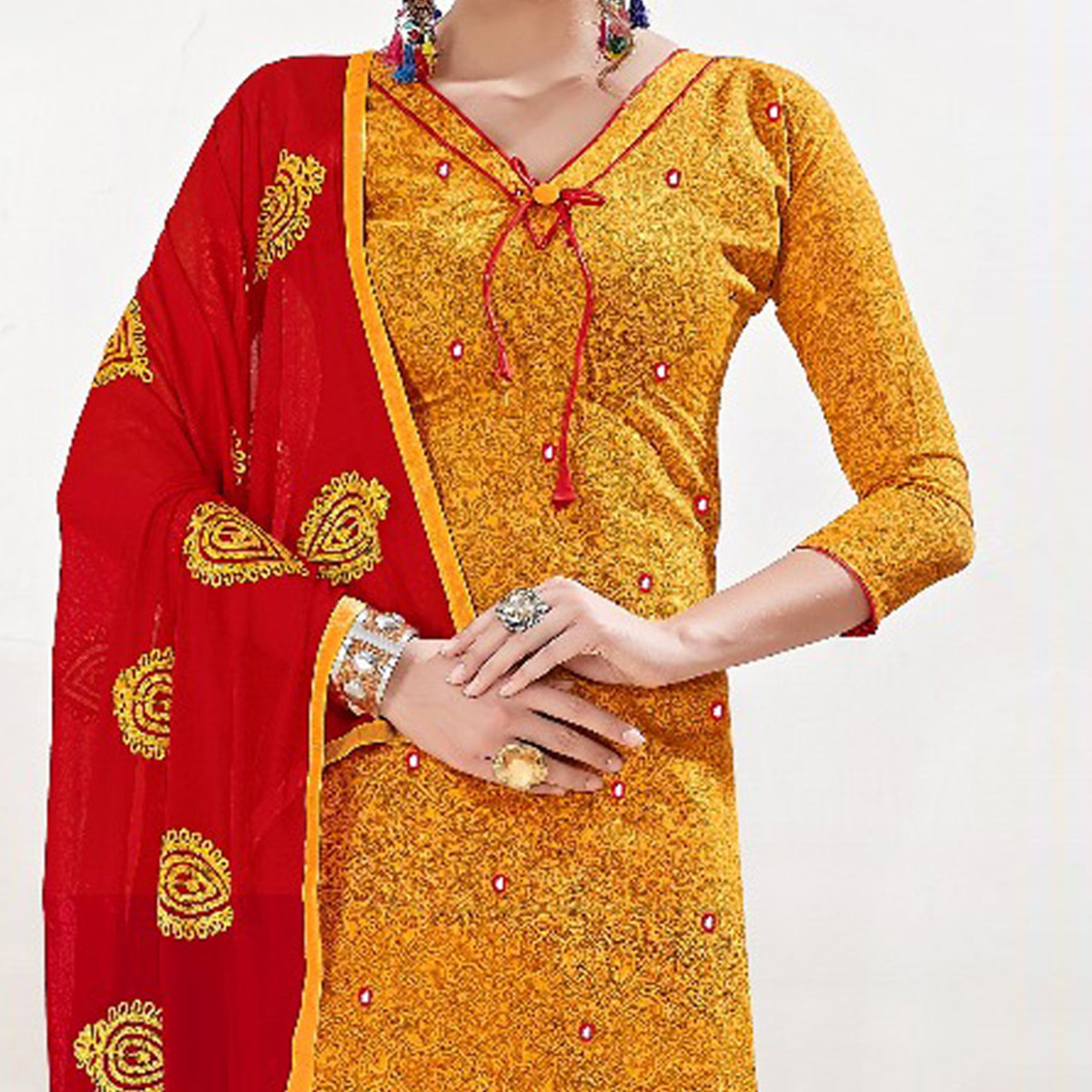 Stylish Yellow-Red Colored Mirror Worked Chanderi Silk Dress Material