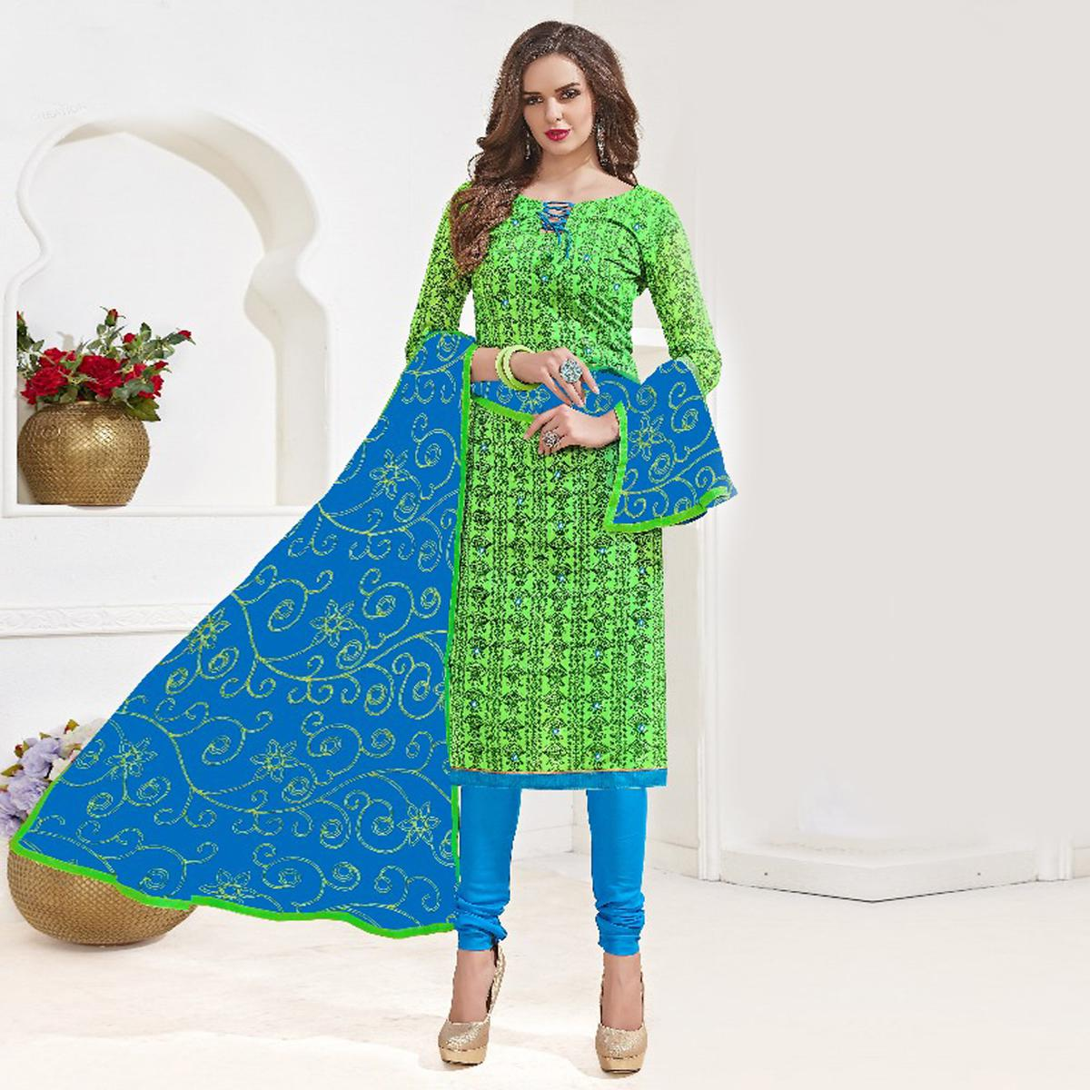 Stunning Green-Blue Colored Mirror Worked Chanderi Silk Dress Material