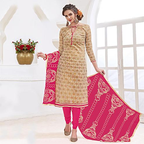 Adorable Beige-Pink Colored Mirror Worked Chanderi Silk Dress Material