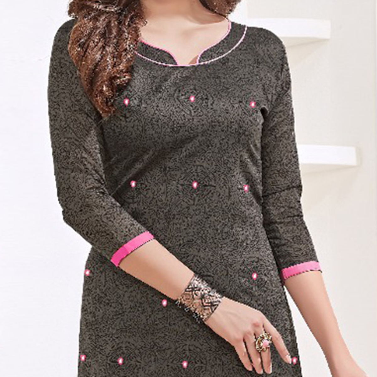 Dazzling Gray-Pink Colored Mirror Worked Chanderi Silk Dress Material