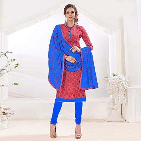 Ravishing Red-Blue Colored Mirror Worked Chanderi Silk Dress Material