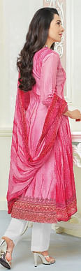 Delightful Pink Self Embroidered Cotton Dress Material
