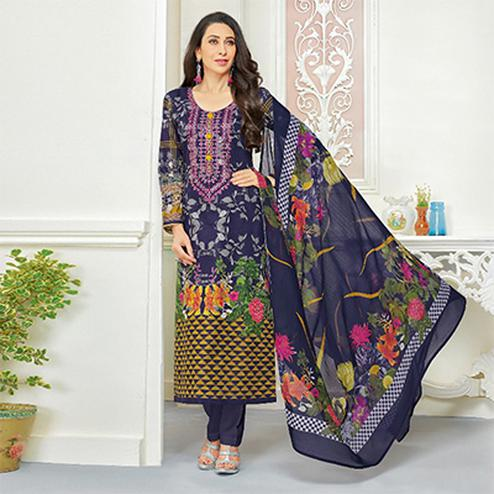 Beautiful Blue Self Embroidered Cotton Dress Material