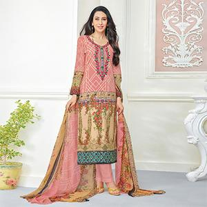 Cool Peach Self Embroidered Cotton Dress Material