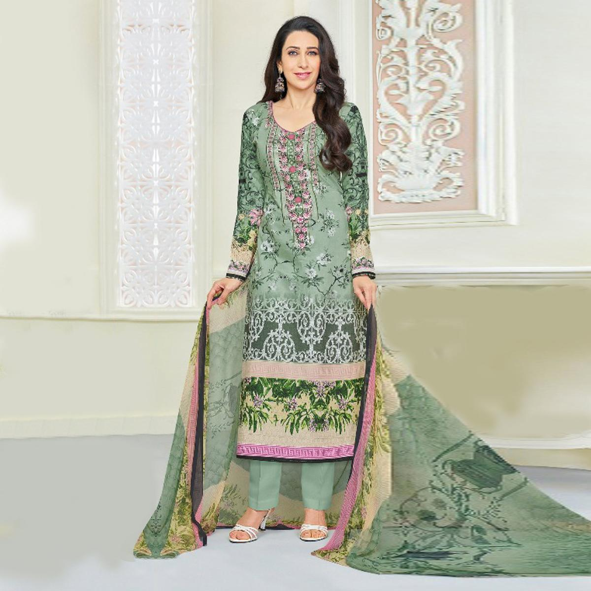 Classy Green Self Embroidered Cotton Dress Material