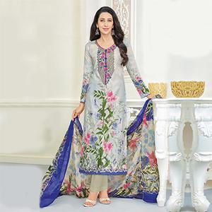Elegant Grey Self Embroidered Cotton Dress Material