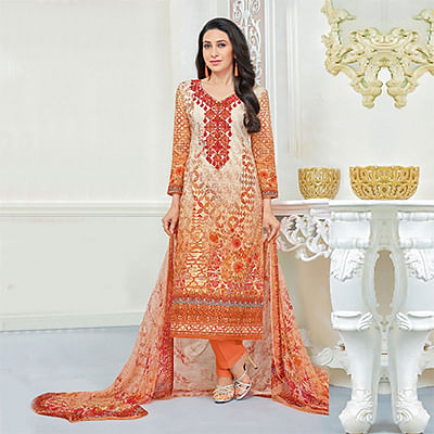 Appealing Orange Self Embroidered Cotton Dress Material
