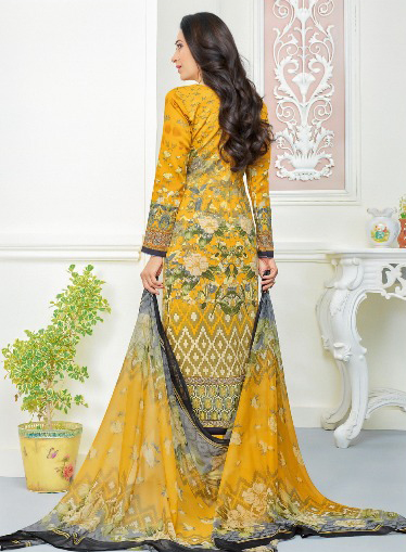 Alluring Yellow Self Embroidered Cotton Dress Material