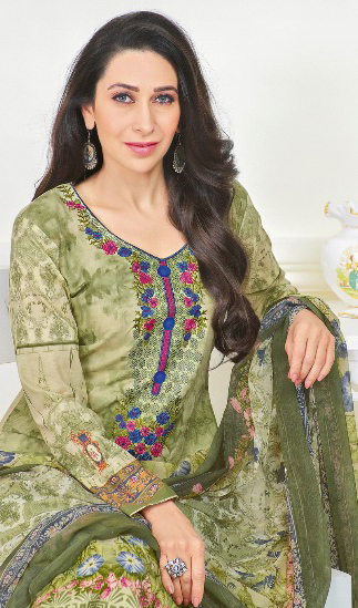 Sizzling Olive Green Self Embroidered Cotton Dress Material