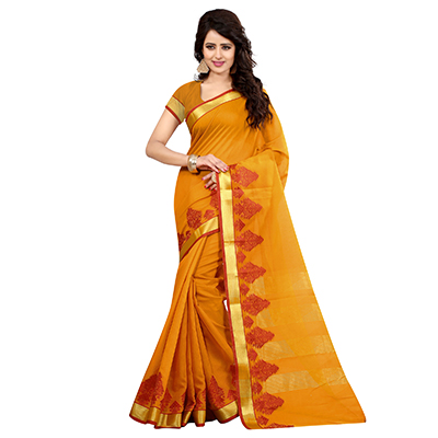 Mustard Yellow Cotton Woven Saree