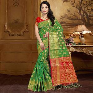 Irresistible Green Colored Festive Wear Designer Woven Silk Saree