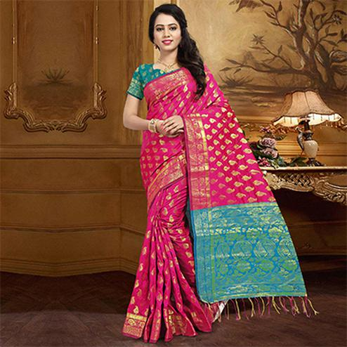 Stunning Pink Colored Festive Wear Designer Woven Silk Saree