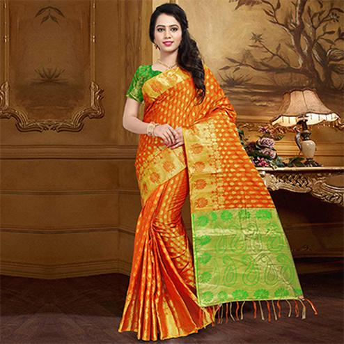 Lovely Orange Colored Festive Wear Designer Woven Silk Saree