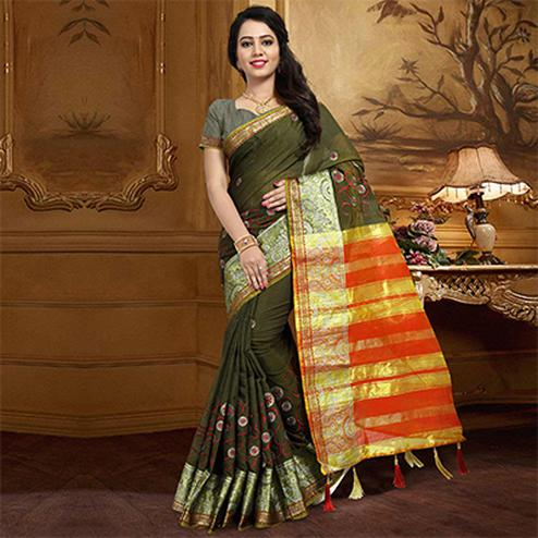 Elegant Olive Green Colored Festive Wear Designer Woven Silk Saree