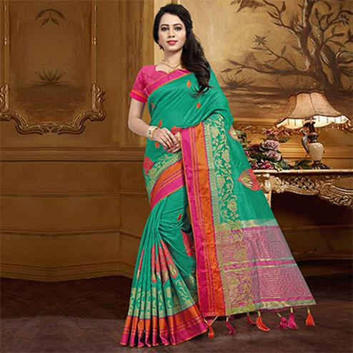 Stunning Teal Colored Festive Wear Designer Woven Silk Saree