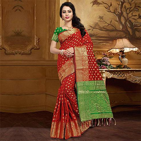 Graceful Red Colored Festive Wear Designer Woven Silk Saree