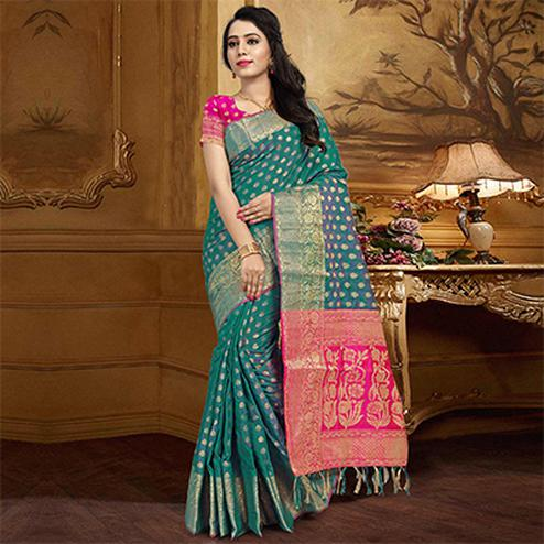 Marvellous Aqua Blue Colored Festive Wear Designer Woven Silk Saree