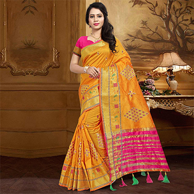 Regal Yellow Colored Festive Wear Designer Woven Silk Saree