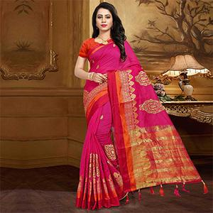 Ravishing Rani Pink Colored Festive Wear Designer Woven Silk Saree