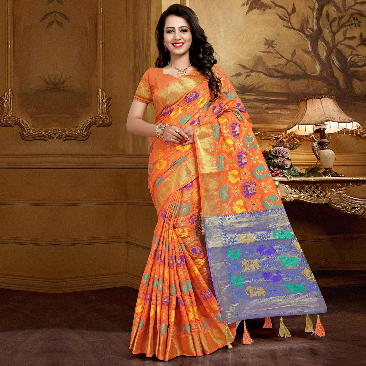 Mesmerising Orange Colored Festive Wear Designer Woven Silk Saree