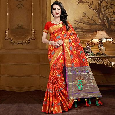 Lovely Red Colored Festive Wear Designer Woven Silk Saree