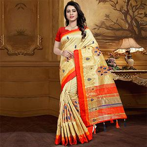 Graceful Beige Colored Festive Wear Designer Woven Silk Saree
