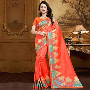 Adorable Peach Colored Festive Wear Designer Woven Silk Saree